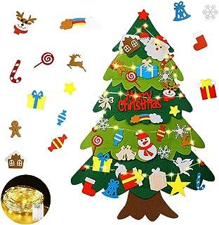 comprar comparacion Mgrett Fieltro Árbol de Navidad, Árbol de Navidad de Fieltro DIY 32 Unids, Navidad Decoración Colgante Luz de Cadena LED p...