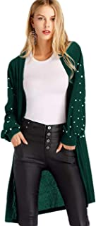 Women's Open Front Pearl Beading Lantern Sleeve Sweater Long Cardigan