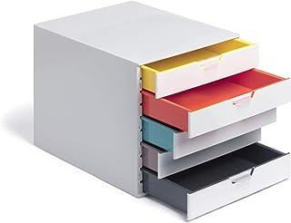 Durable 762527 Caja de cajones A4 (Varicolor Mix) 5 compartimentos con etiquetas para etiquetar multicolor
