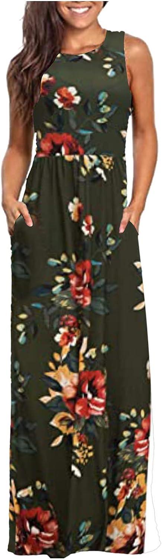 Tank Sleeveless Floor Length Summer Maxi Flower Dress with Pocket Classic Casual