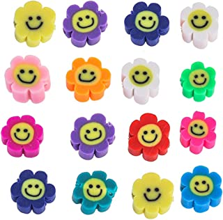 YEYULIN 100pcs Mixed Sun Flower Smiley Polymer Clay Spacer Beads for Women Girls Jewelry Making DIY Bracelet Necklace Hair...