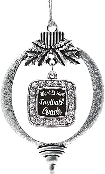 Inspired Silver World S Best Football Coach Charm Ornament Silver Square Charm Holiday Ornaments With Cubic Zirconia Jewelry