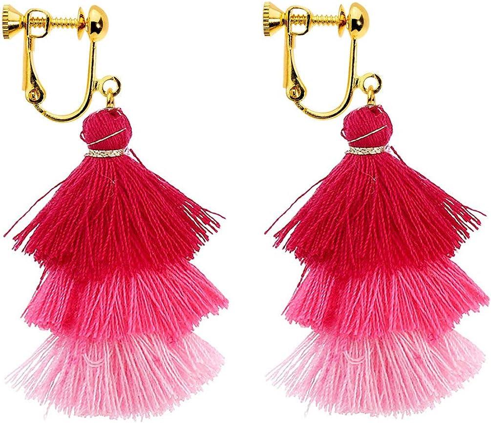Colorful 3 Tiered Thread Tassel Dangle Clip on Earrings Statement Multi Layered Drop Women Bohemian