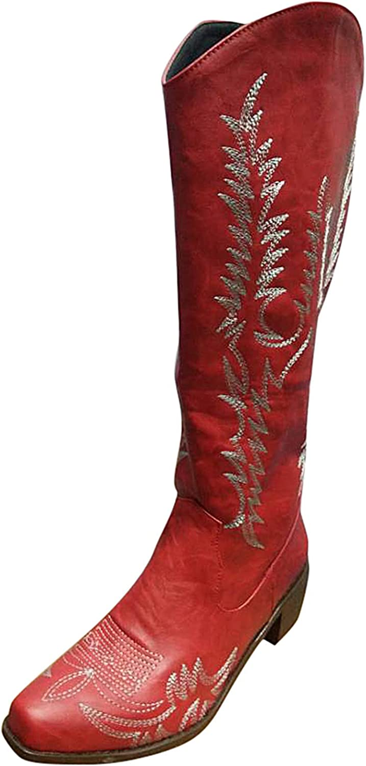 USYFAKGH Women's Fashion Retro Embroidered Pointed Toe Square Heel Casual Long Boots