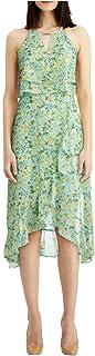 KENSIE Womens Green Embellished Floral Sleeveless Keyhole Below The Knee Hi-Lo Evening Dress AU Size:14