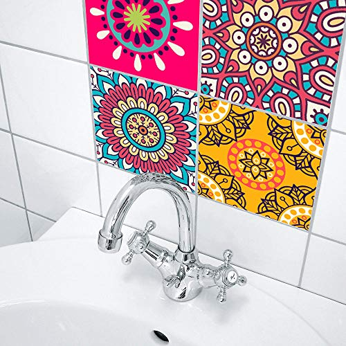 YQYMSPX Pegatinas para azulejos de cocina, baño, 25 x 25 cm, diseño de flores rosas, impermeables, autoadhesivas, para cocina, baño, sala de estar, TV, decoración de fondo, 1 juego de 10 unidades