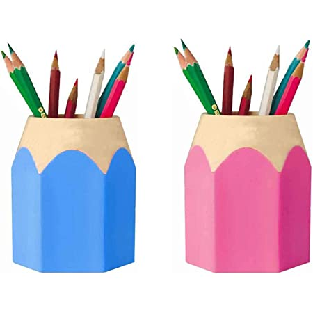Ghopy Stiftek/öcher Stiftebox Stiftbecher Pencil In Buntstift Form Stabiler Kunststoff Circa 8,5 x 6,5 x 10,5 cm Pink