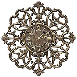 Whitehall Products Filigree Silhouette 21-in Indoor/Outdoor Wall Clock French Bronze
