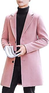 Raylans Men's Solid Trench Coat Long Cotton Blend Slim Fit Jacket Overcoat