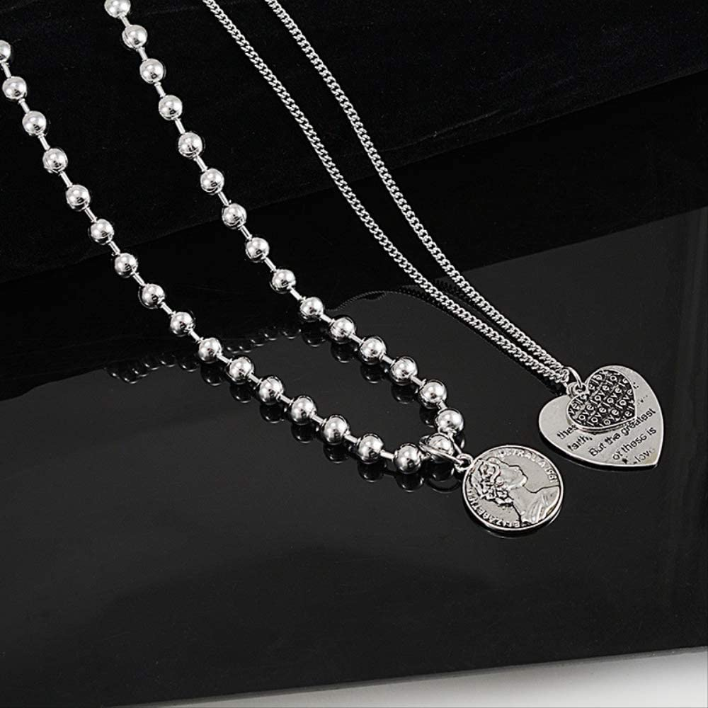 Naswi Queen Coin Love Heart Layered Necklace Collares Choker Men Women Punk Stainless Steel Long Necklace Hip Hop Jewelry