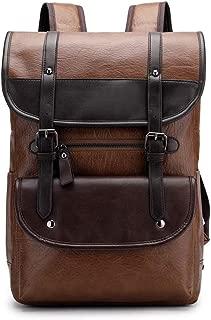 SAIPULIN School Backpack Notebook Backpack Everyday Job with Laptop 15 Inch Laptop Backpack Leather Daypack,Laptop Backpack Men's Backpack Large Capacity Travel Bag Laptop Backpack (Color : Brown)