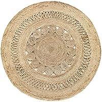 HAMID Alfombra Yute Alhambra Nazarí Color Natural Redonda - Alfombra 100% Fibra de Yute - Diseño Trenzado - Hecho a Mano - Alfombra de Fibra Natural (150x150cm)