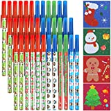 40 Sets Christmas Stick Pens and Sticky Notes, 36 Pieces Holiday Ballpoint Pens and 4 Kinds Christmas Style Self-Stick Notes, Christmas Characters Writing Pens Notepads for Christmas Decoration Party