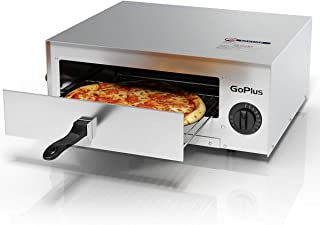Goplus Stainless Steel Pizza Oven, Electric Pizza Maker Pizza Baker with Snack Pan, Snack Maker, Counter Top, Commercial & Kitchen Use (Silver)