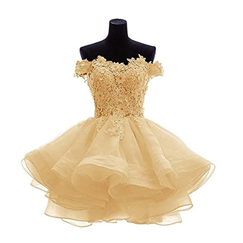 c156123be4 ANGELA Women s Off The Shoulder Organza Short Prom Homecoming Dresses