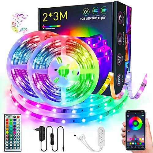 Striscia LED, SMD 5050 RGB LED Lights 6 Metri Cambia Colore con Controllo App e Telecomando, Sincronizzazione con Musica, Retroilluminazione Strisce per la Casa,TV, Decorazioni