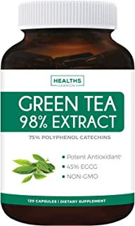 Green Tea 98% Extract with EGCG - 120 Capsules (Non-GMO) for Weight Loss & Metabolism Boost - Natural Diet Pills - Leaf Po...