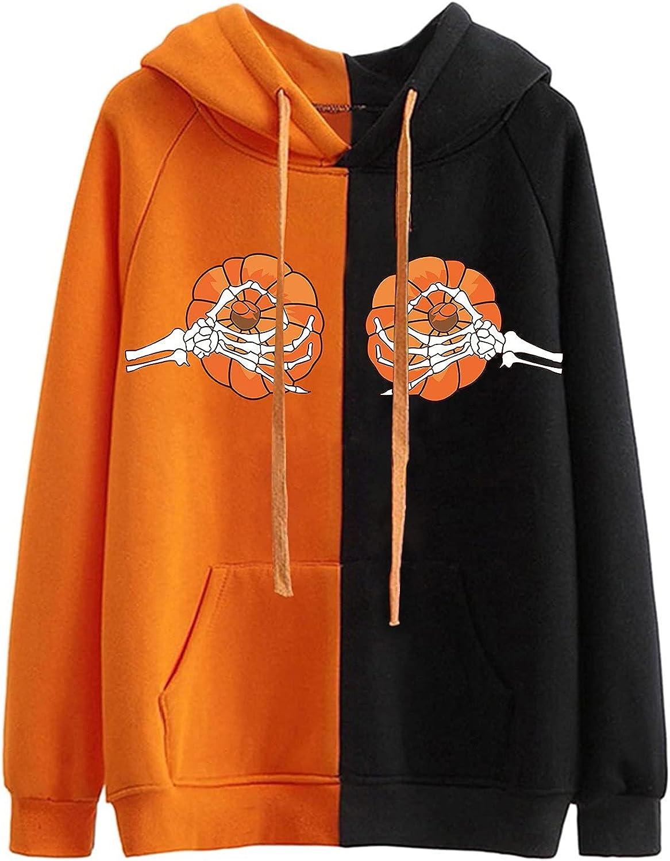 Halloween Hoodies for Women Plus Size Casual Drawstring Long Sleeve Splicing Pumpkin Ghost Print Pullover Sweeatshirt