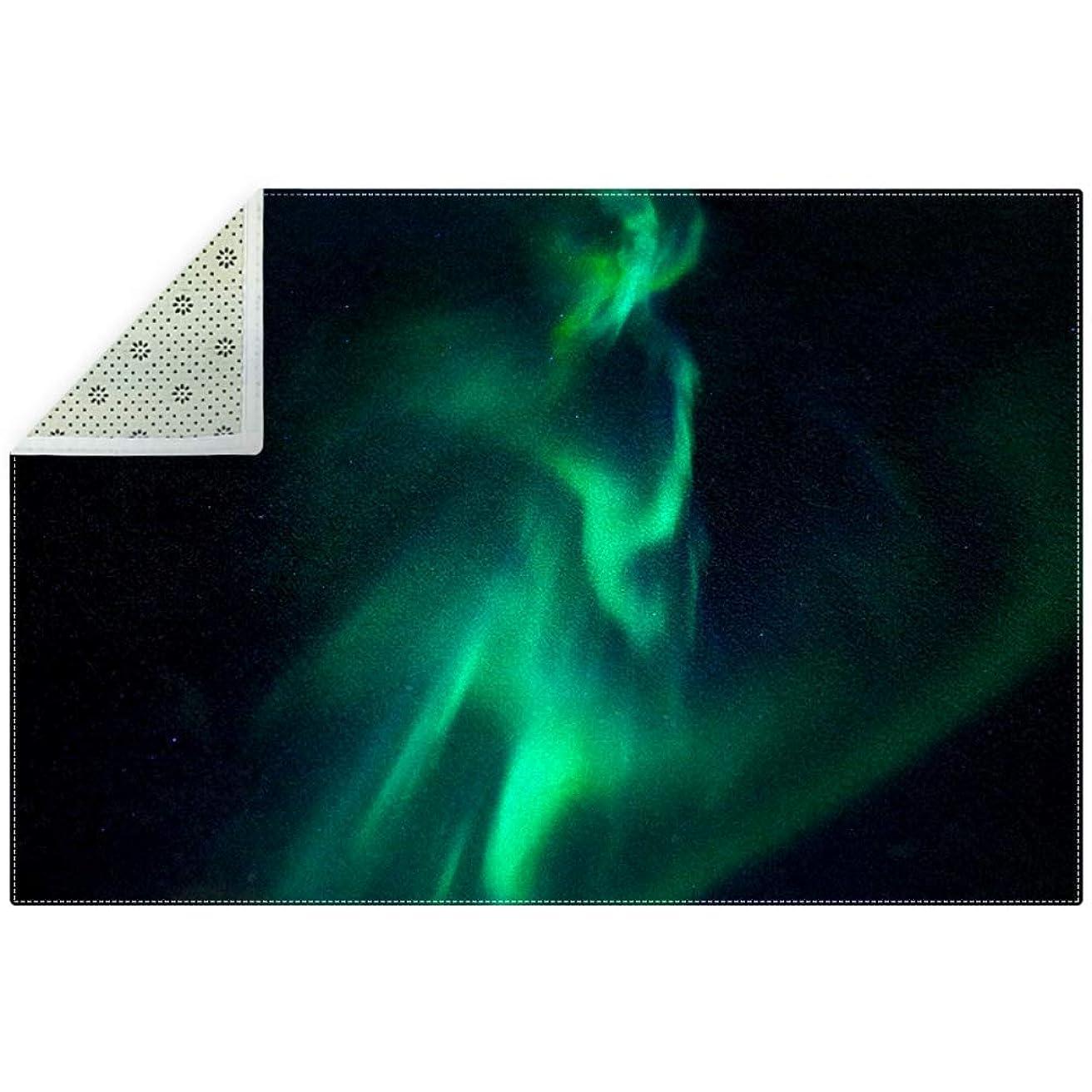 アンドリューハリディゴールミンチAyuStyle ラグ カーペット ラグマット オーロラ 輝く 緑 絨毯 マイクロファイバー 滑り止め 洗える ウォッシャブル ホットカーペット対応 フロアマット 200×150cm