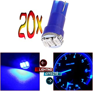 cciyu 20 Pack Blue T5 3-3014 SMD Wedge LED Light Bulbs 74 17 18 37 70 73 2721 Replacement fit for Instrumental Cluster Gauge Dashboard