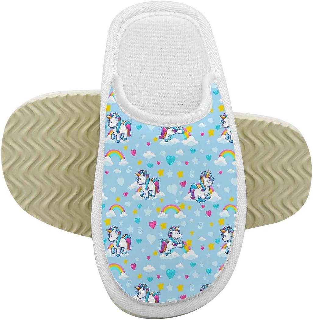House Slippers Unicorns Blue Memory Foam Indoor Home Slippers Anti-Slip Shoes for Boys Girls