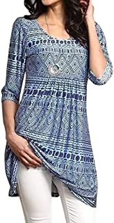 Women Girls Autumn Floral Blouse Long Top Elbow Sleeve Plus Size T-Shirt