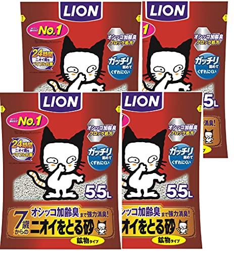 スマートマットライト 【Amazon.co.jp限定】 ニオイをとる砂 猫砂 7歳以上用鉱物タイプ 1)5.5Lx4袋 (ケース販売)