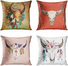 ArtSocket Set of 4 Throw Pillow Covers Southwestern Southwest Native American Skull Turquoise Feathers Indian Map Cowboy Old Cow Decorative Pillow Cases Home Decor Square 18x18 Inches Pillowcases