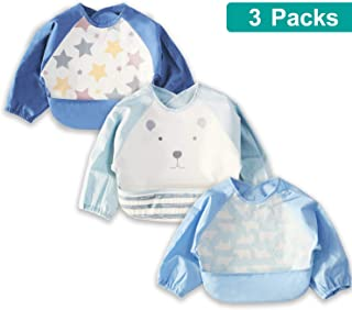3 Pcs Long Sleeved Bib Set | Baby Waterproof Bibs with Pocket Bundle | Toddler Bib with Cotton Sleeves and Crumb Catcher | Stain and Odor Resistance Play Smock Apron - Pack of 3 | 6-18 Months