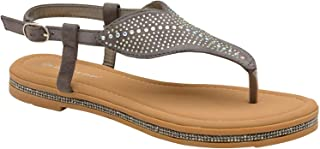 Dunlop Womens Sparkly Beaded Strappy Sandals - Amy - Grey - UK 3