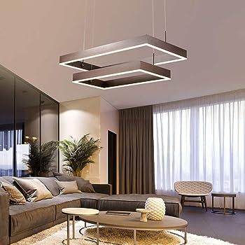 Dimmbar Modern LED Pendelleuchten Höhenverstellbar Esszimmer Lampe Braun  Kreative 8 Ringe Eckig Hängeleuchten Kronleuchter Design Wohnzimmer  Esstisch