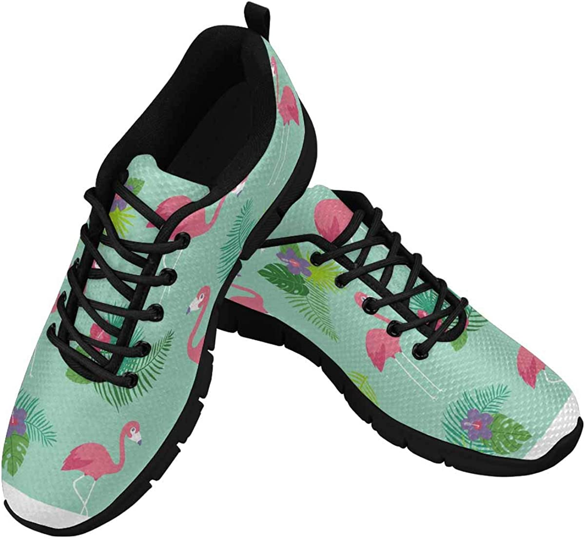 INTERESTPRINT Flamingos with Hibiscus and Leaves Women's Lace Up Running Comfort Sports Sneakers