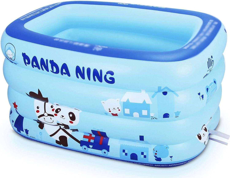 AJZGF Blauer rechteckiger aufblasbarer Pool der Kinder Verdickte PVC-Badewanne Badewanne (Farbe   Foot Pump, Gre   130cm)