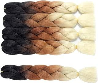 Callia Braiding Hair 5 Packs Ombre Jumbo Braids 24 inch Kanekalon Fiber for Twist Braiding Hair Dreadlocs Crochet Hair(Dark-Brown-Beige)