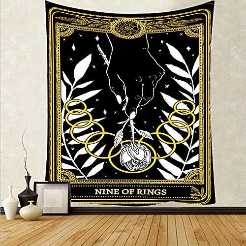 Tapiz De Pared,Tapices De Pared,Mural Tapestry Impresión 3D Tarot Negro(95X73Cm) Decoración Del Hogar De La Pared Del Dormitorio De La Sala De Estar