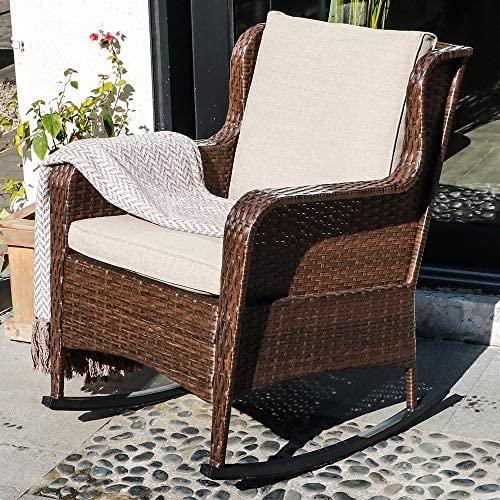 Best SUNSITT Outdoor Resin Wicker Rocking Chair with Olefin Cushions, Patio Yard Furniture Club Rocker Ch