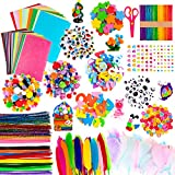 Whaline 1050 PCS Art Craft Kit Supplies 17 Styles Pipe Cleaners Pompoms Wiggle Googly Eyes Foam Flowers Letters Construction Papers Safety Scissors Sticks Heart Stickers Feather Felt Cloth Button