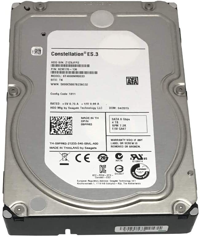 Seagate ST4000NM0033 Constellation ES.3 4 TB 3.5 inch Internal Hard Drive - SATA - 7200 rpm - 128 MB Buffer (Renewed)
