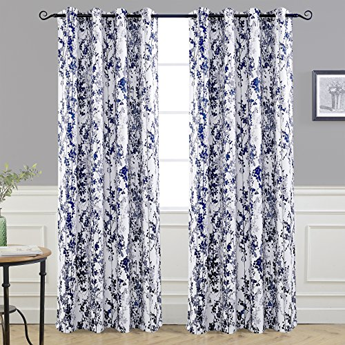 DriftAway Leah Abstract Floral Blossom Ink Painting Room Darkening Thermal Insulated Grommet Unlined Window Curtains 2 Panels Each Size 52 Inch by 84 Inch Navy Silver Gray