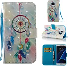 Case for Galaxy S7,Pu-Leather 3D Printing Wallet Case [Durable] Flip Kickstand with Card Holder & Wrist Strap Shockproof Slim Full Protective Case Compatible with Samsung Galaxy S7 -Dreamcatcher