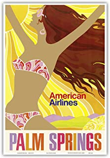 Palm Springs - California Girl - American Airlines - Vintage Airline Travel Poster c.1960s - Master Art Print - 13in x 19in