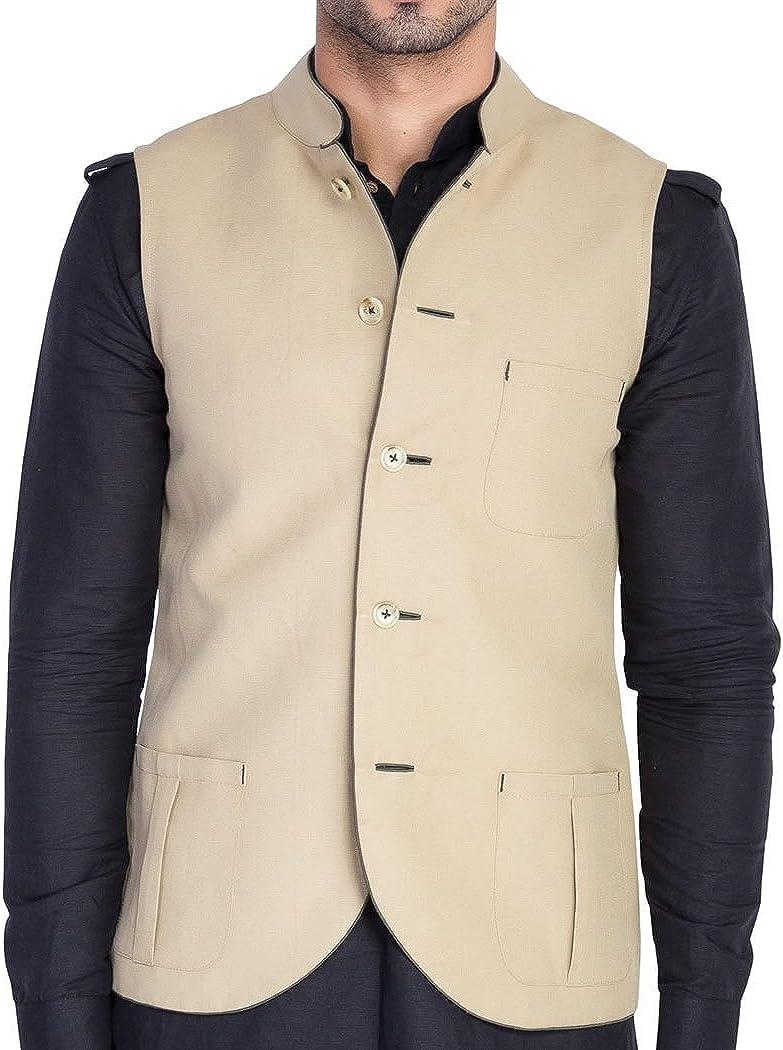 INMONARCH Mens Beige Waistcoat Nehru Jacket Festive Vest NV43