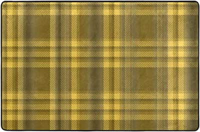 Yellow Plaid Flannel Doormat Entrance Mat Floor Mat Rug Indoor/Outdoor/Front Door/Bathroom Mats Rubber Non Slip 36 x 24 Inch