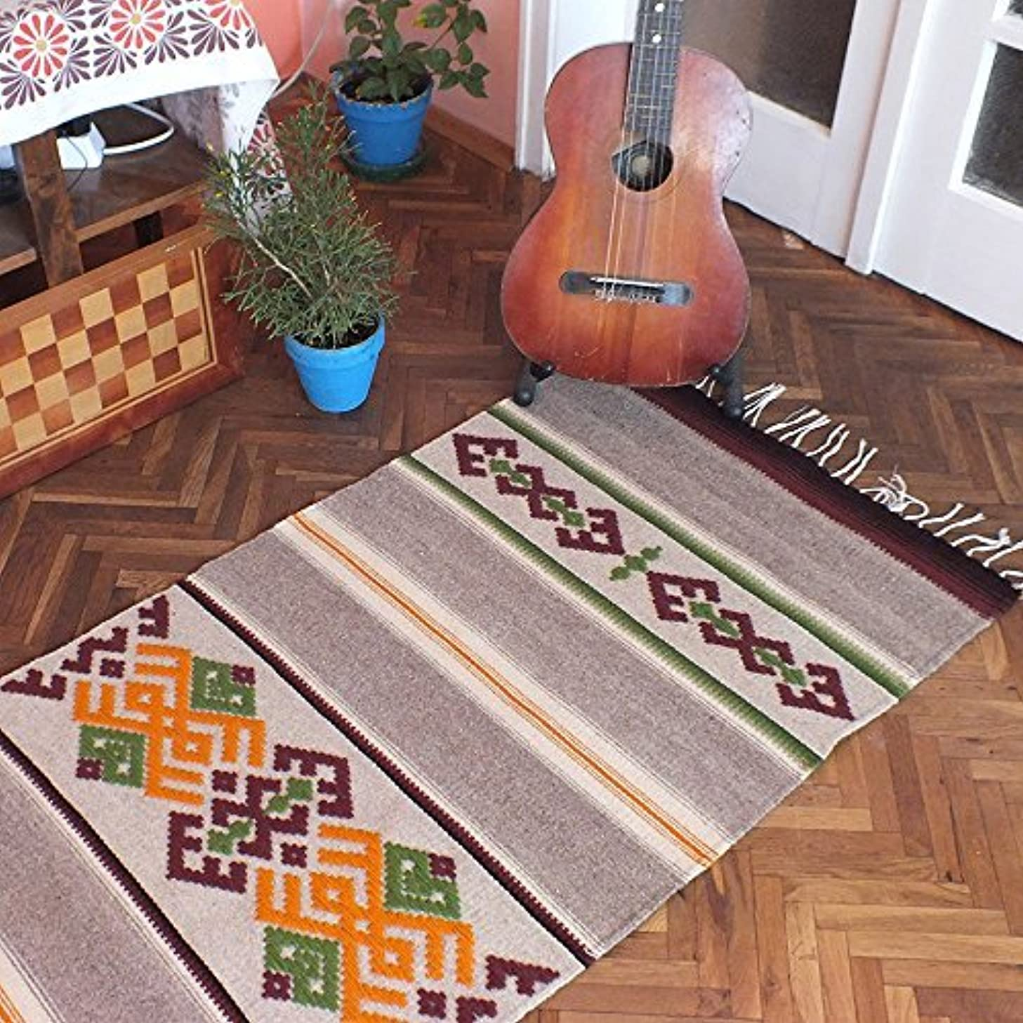 Stylish made to order handwoven wool rug in gray, brown, white and orange