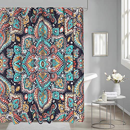 Madala Shower Curtain Boho Floral Retro Mysterious Paisley Henna Tattoo for Bathroom Decoration Waterproof Fabric