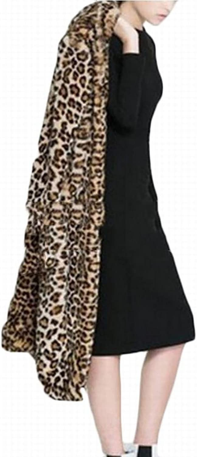 Alion Women's Long Sleeve Hooded Leopard Print Faux Fur Plus Size Long Coat