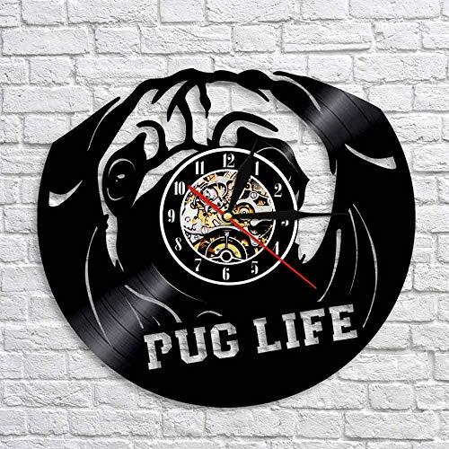 wtnhz LED-Puppy Dog Silhouette Art Mural Clock 12' Animal Pet Puppy Vinyl Record 3D Pug Wall Clock Handmade Home Decor