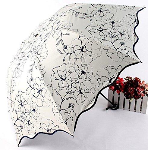 GTWP GTWP GT Regenschirm Manual Mode 3 Folding Umbrella kreative, Hibiskus Blume, Regen Regenschirm stabile Winddicht Anti-UV-Sonnenschutz Dach