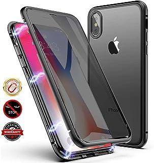 Layack Funda para iPhone 7/8 Anti-Spy Carcasa Fundas Magnética Cubierta de Trasera de Vidrio Templado Transparente con Metal Parachoque Imanes Incorporados 360 Grados