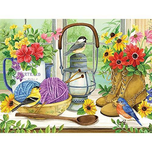 Murturall diamantschilderij Mooie bloem vogel kruissteek diamant borduurwerk lantaarn handgemaakt patroon strass Home Decor